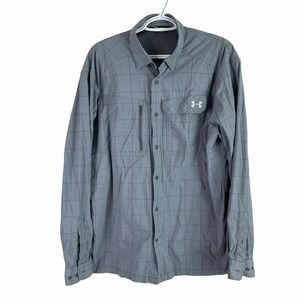Under Armour Vented Outdoor Shirt Mens L Gray Long Sleeve Nylon